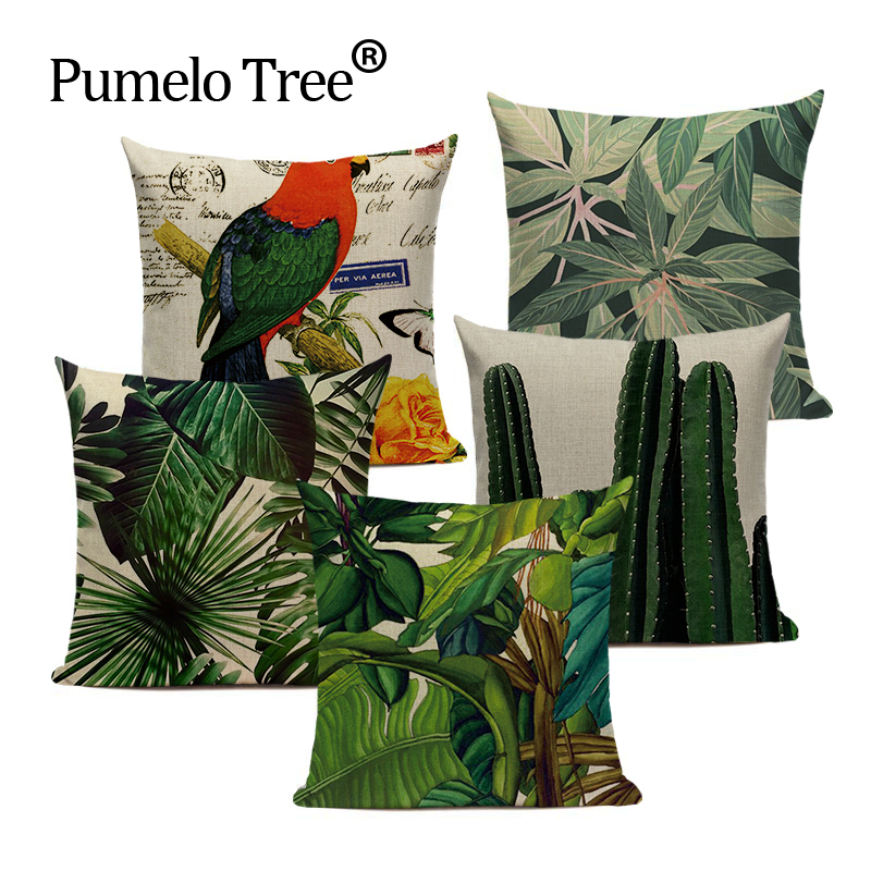 High Quality Tropical Decoration Pillow Cover Green 45*45 Outdoor Cushions Throw Pillows Plant Cushions Custom Decor Pillowcases