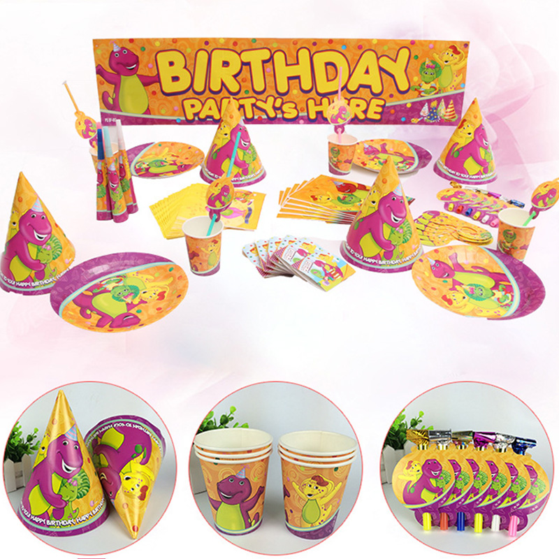 Dinosaur Cartoon Disposable Party Tableware 6 People Use Kids Birthday Party Decoration Set Party Supplies