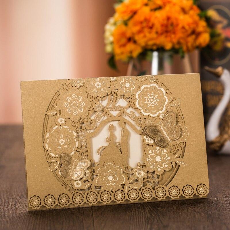 Ev ve Bahçe'ten Kartlar ve Davetiyeler'de (100 adet/grup) gelin ve Damat Altın Düğün Davetiyesi Kartı Pop Up Kelebek Dantel Çiçek Özel Baskı Evlilik Davetiye CX025'da  Grup 2
