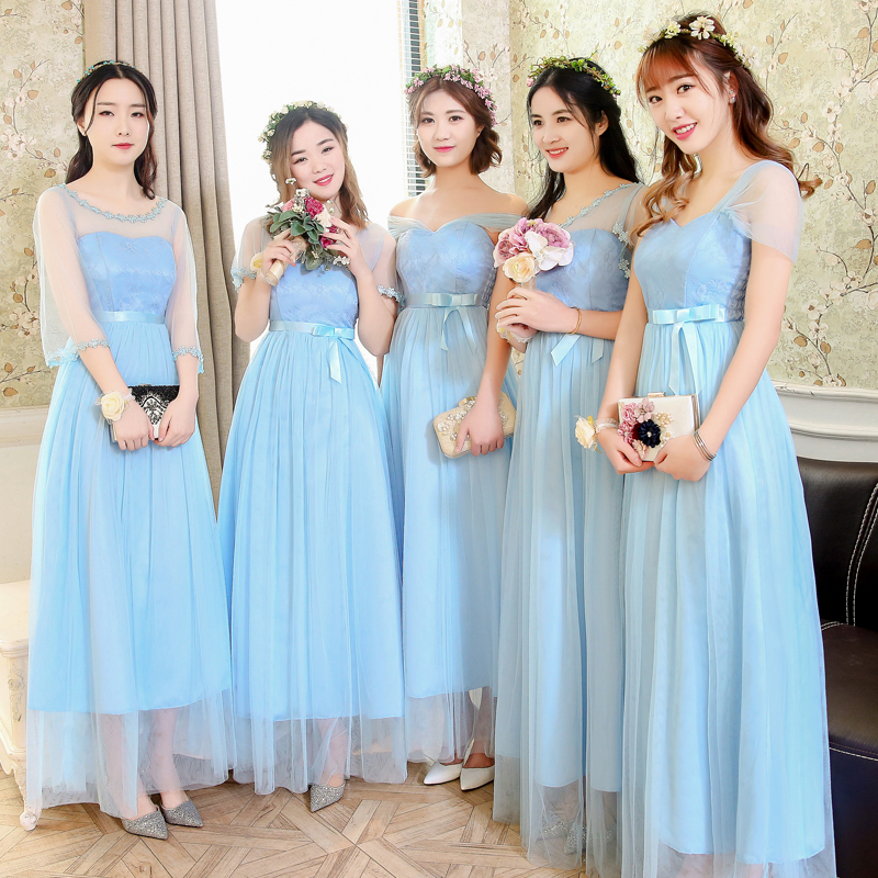 Long Bridesmaid Dress Light Blue