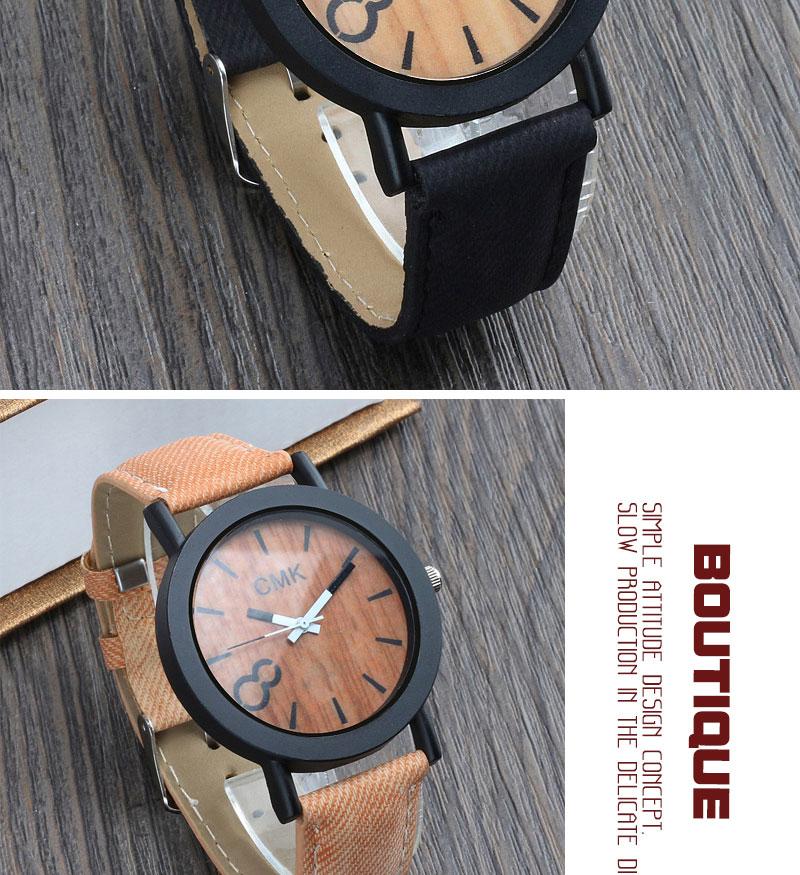 Fashion Luxury Men Women Simple Casual Leather Wood Grain Watch 13
