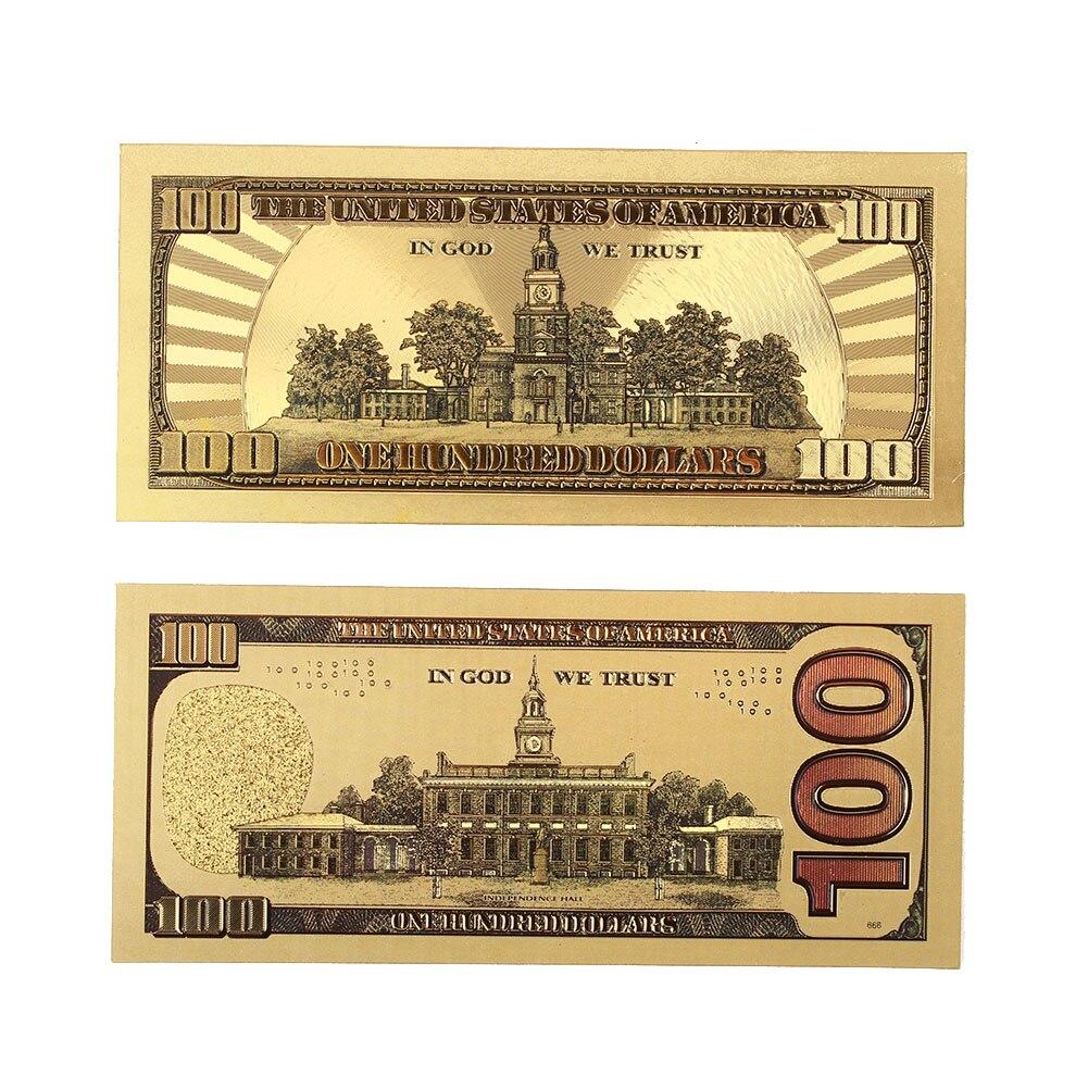 2 шт./компл. с покрытыем цвета чистого 24 каратного золота долларов высокое качество банкнот 100 Долларовые купюры СУВЕНИР Памятные заметки Античная позолоченная монета золото