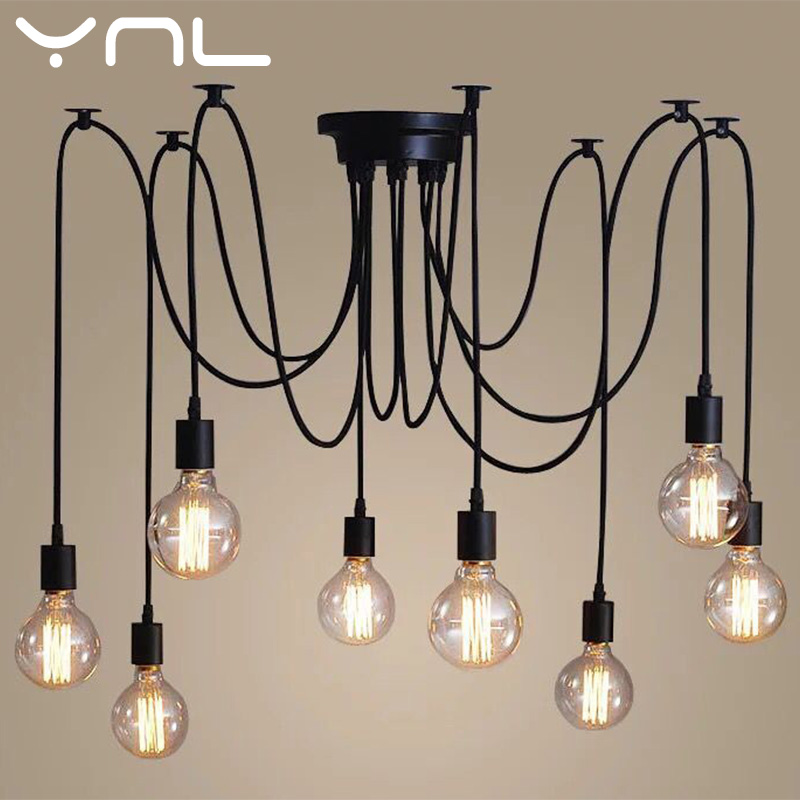Vintage Spider Pendant Lamp  Retro E27 Edison Loft Style Adjustable  Hanging Lights Spider Ceiling Lamp Fixture Light
