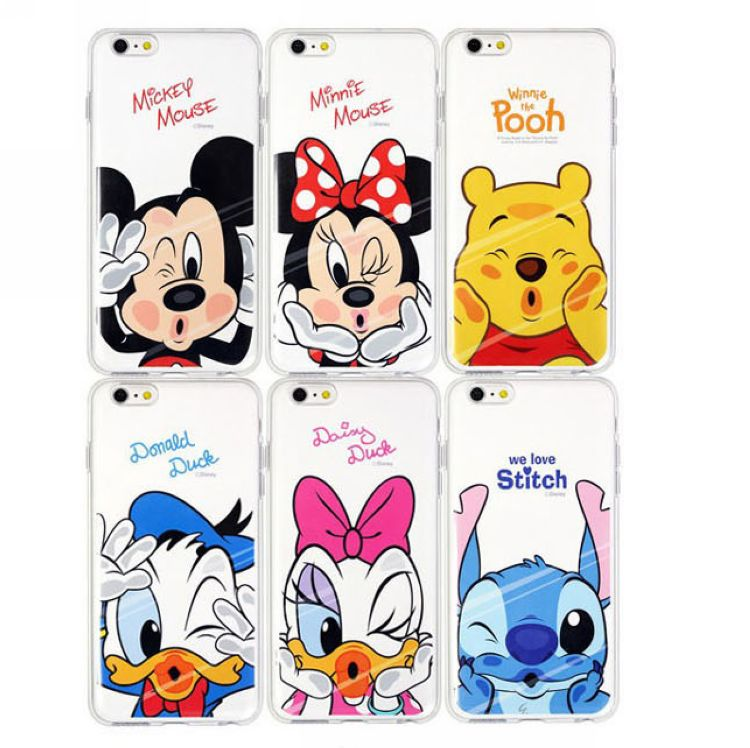Luxury Transparent Case Cute Cartoon Coque For iPhone 5 5S 6 6S Plus Mickey Minnie Mouse Daisy Donald Duck Pooh lovers Case