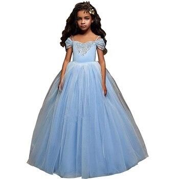 cap sleeve little girls dress with bow beaded vestido de fiesta nina puffy kids dresses beautiful dresses for girls ball gown