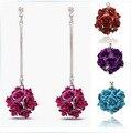 Romantic rose ball Long clip earring women ,no pierced Ear clips brincos