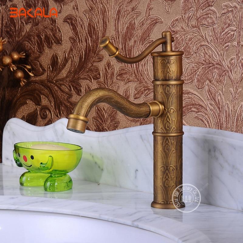 BAKALA Antique brass Faucet Mixer Bathroom Luxury Carved Bathroom Sink Faucet taps GZ8002BAKALA Antique brass Faucet Mixer Bathroom Luxury Carved Bathroom Sink Faucet taps GZ8002