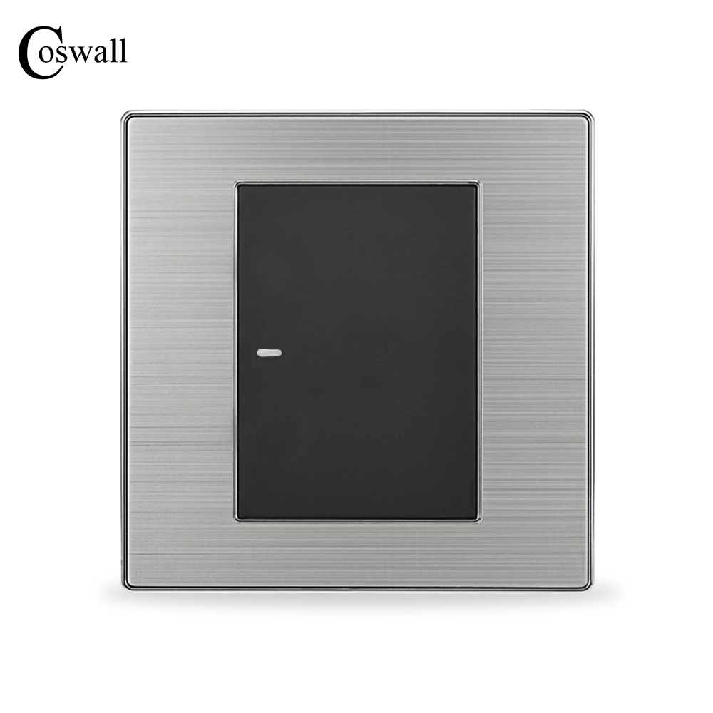 COSWALL 1 Gang Crossover Conmutador Zwischen Lichtschalter Taster Wand Schalter Interruptor Gebürstet Silber Panel