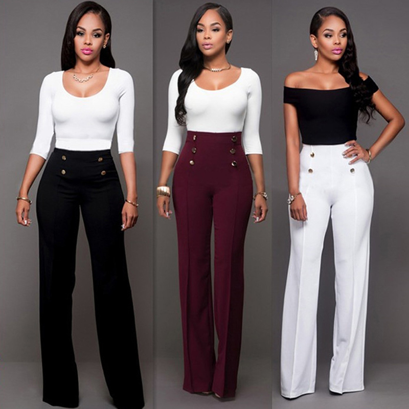 Women's Pants Fashion High Waist Solid Loose Wide Long Trousers Flowing Palazzo Autumn High Quality Women Pants