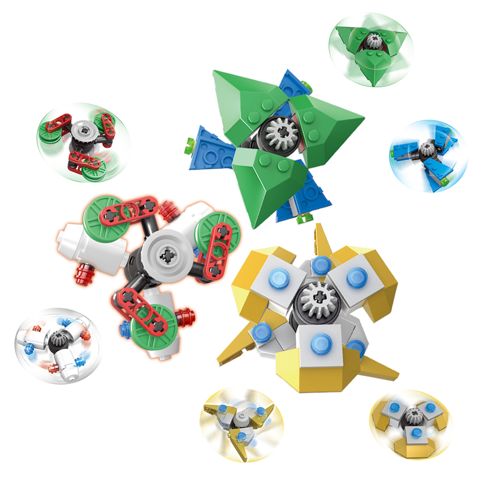 Kazi 6pcs/Set Fidget spinner Buildable Spiner Building Blocks Rotating Hand Toy For Kids Adult Anti Stress Compatible Legoe 1000pcs spinner 608 bearing for unique fidget finger spinner triangle miniature rotating luxury toys edc hand spinners toy