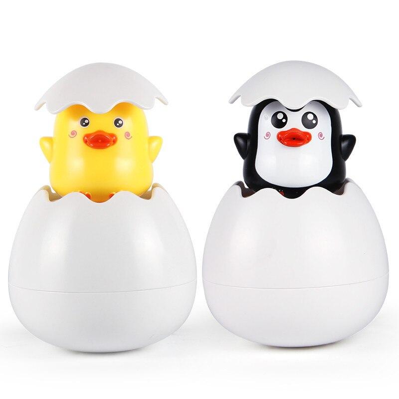 Cartoon Duck Baby Water Toys Bath Toys Children Bathroom Sprinkler Toys ABS Penguin Clockwork Bath Toys For Kids