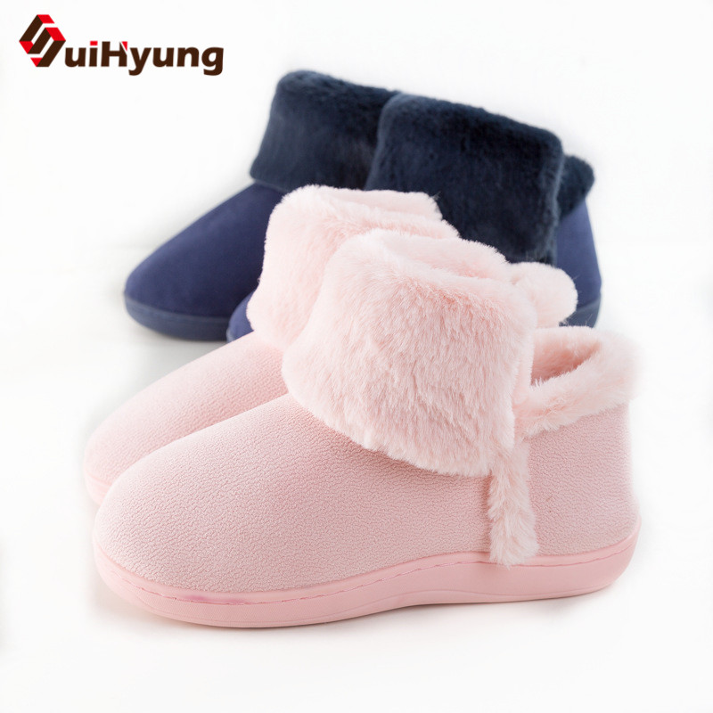 Suihyung Women Snow Boots Cotton-padded Shoes Winter Warm Plush Indoor Floor Shoes Female Furry Short Flat Flock Botas Slip On suihyung new funny animal prints flock home slippers women winter warm indoor floor shoes flat cotton shoes short plush slip on