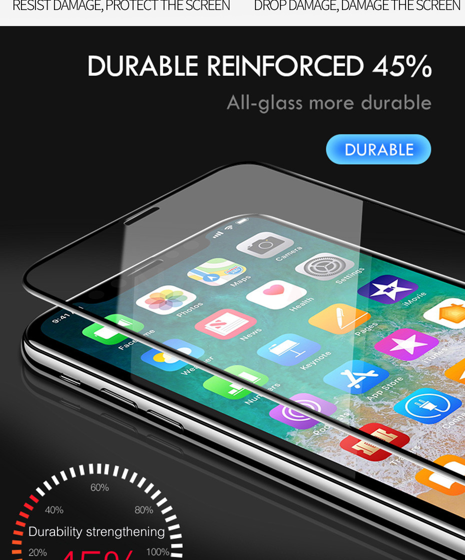 100D Curved Edge Full Cover Protective Glass On The For iPhone 7 8 6 6S Plus Tempered Screen Protector iPhone X XR XS Max Glass 11