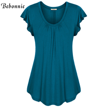 Bebonnie Summer Ruffles Short Sleeve V-Neck Women Basic Top Front Pleats Female Solid Stretch Knitted Blouse Loose Tunic Tops