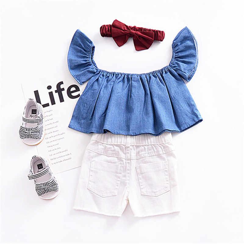 ea0d6e2fe8d9e ... Toddler Baby Girls clothes off shoulder casual cotton tassels pullover Tops  short sleeve kids cute newborn ...
