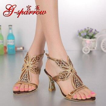 Women's Shoes High Fashion Summer New Elegant Pumps Diamond Open-toed Stilettos Sandals Heels Online Shopping High Quality