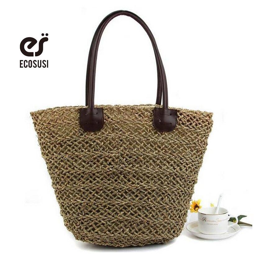 ecosusi 2017 Fashion Women s Shoulder Handbag Tote Bags Straw Bag Women Summer Beach Bag Women