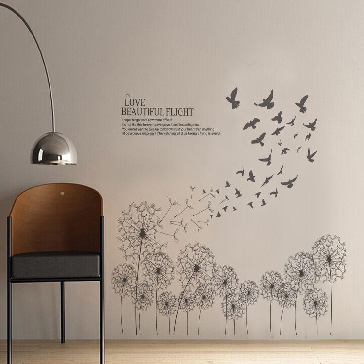 Large Grey Dandelions Vinyl Wall Sticker Decals Modern Black Plants Flower Wallpaper Mural Home Bedroom Living Room Window Decor
