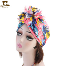 New women flower Turban Hat Twist Knot India Hat Ladies Chemo Cap Muslim turban Fashion Headbands Women Hair Accessories new fashion baby vintage double flower beanie turban style hat children chemo cap muslim turban headbands kids hair accessories