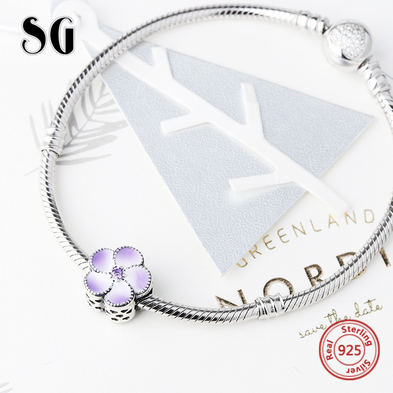 Fit pandora charm bracelets silver 925 original flower petal charms beads with Zirconia&gradient enamel for Valentines Day gift