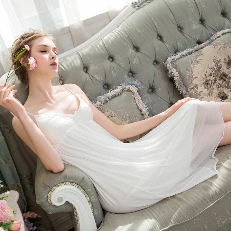 2019 New Summer   Nightgowns   Lace Honeymoon   Sleepshirts   Sleepwear Women V-Neck Night Wear Princess Mini Dress Plus Size Homewear