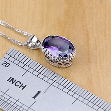 925 Sterling Silver Jewelry Purple Zircon White Crystal Jewelry Sets For Women Earring/Pendant/Necklace/Ring