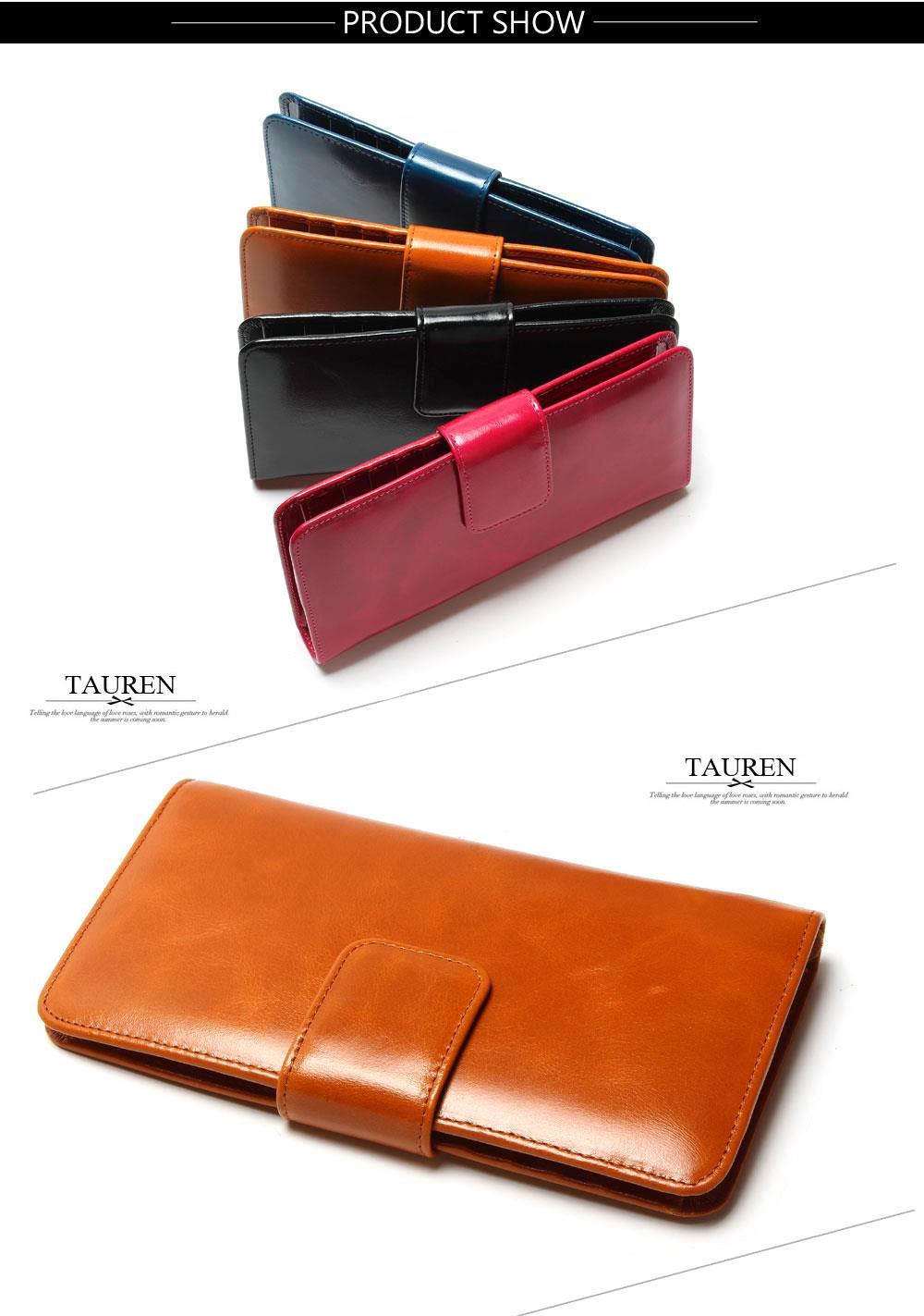 Spencers TAUREN  女性マルチカードオイルワックス革財布ロング本物の 5