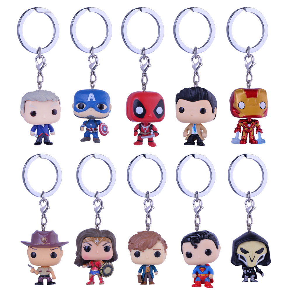QIYIGE Cute Keychain Toys Figure Collectible Doctor Who Model Walking Dead Nick Wonder Woman Keyring