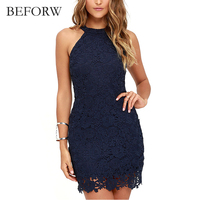 BEFORW Summer Fashion Women Dress Hollowed Out Sexy Mini Dresses Vintage Printing White Lace Dress Office