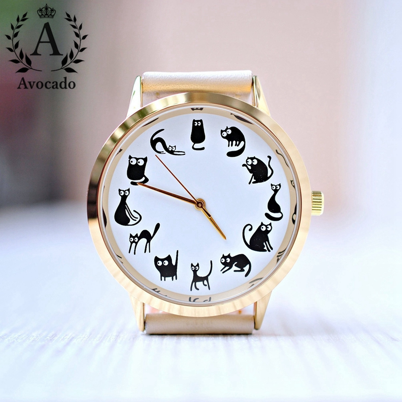 AVOCADO Quartz Wristwatch Cat lover gift, Womens watch, Gift for women, Cat watches, Unique Black cat, Pet lover, Crazy cat lady mjjc brand foam lance for karcher 5 units package free shipping 2017 with high quality automobiles accessory