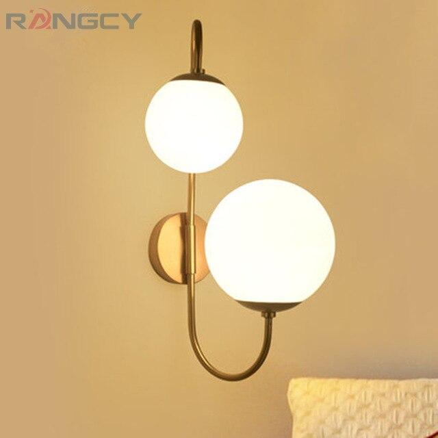 Modern simple iron wall lamp creative Nordic glass ball round living room art restaurant bedside aisle wall lamp 100-240V