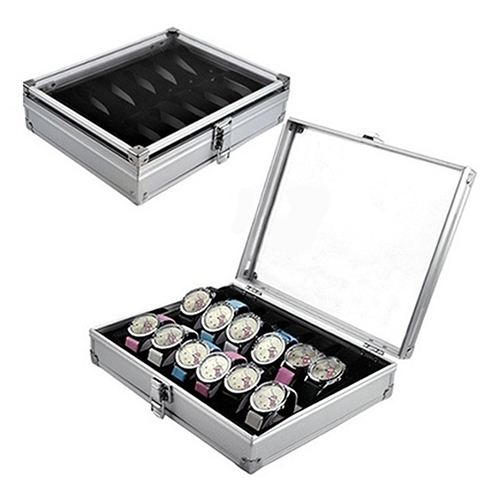Useful 6 12 Grid Slots Jewelry Watches Aluminium Alloy Display Storage Box Case