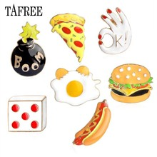 TAFREE Colorful Enamel Lapel Pins Hamburger,pizza,hot dog,Boom,Ok,dice Brooches Food Style Badge Dress and Bag Accessories LP79(China)