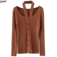 כבל סרוג סוודרים לנשים שרוול ארוך 2 צבעים הלטר V צוואר Silm סקיני סתיו עיצוב חדש Jumper למעלה