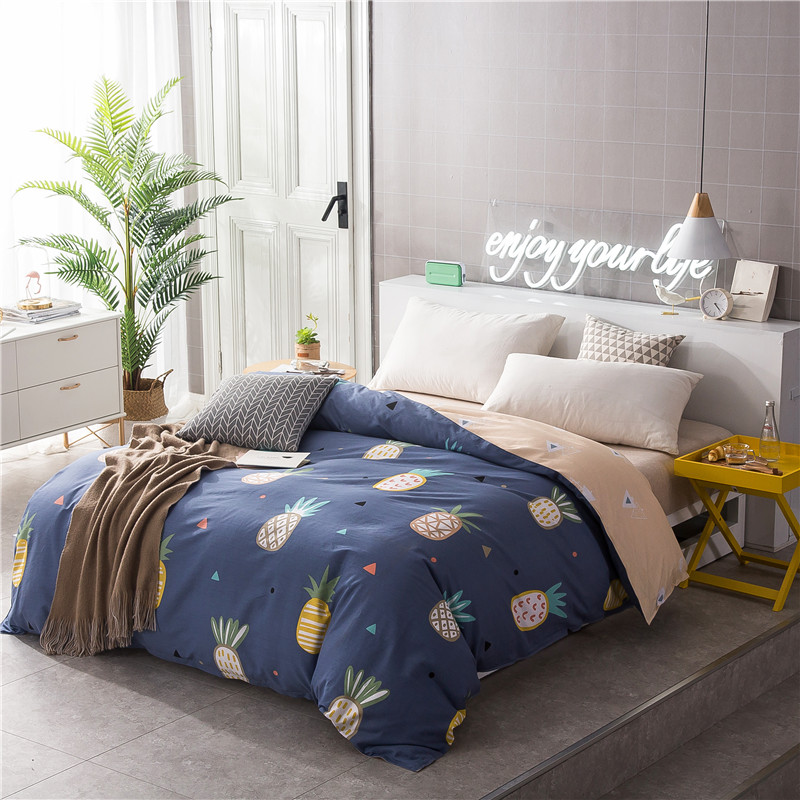 Yellow Cartoon Pineapple Pattern Bedding 1 Piece Duvet Cover With Zipper 100% Cotton Quilt Or Comforter Or Blanket Case 4 Size