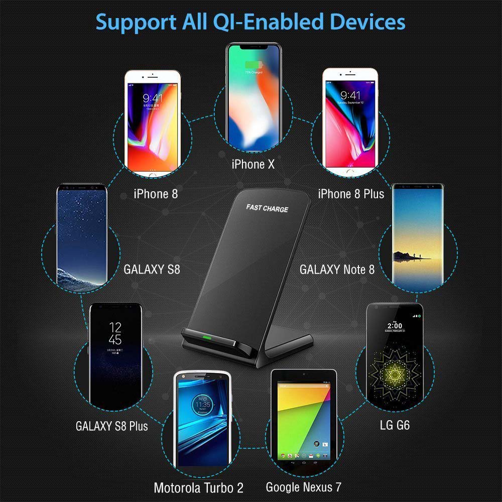 10W Qi Wireless Charger for Samsung S9 S8 S7 Note 9 8 Fast Wireless Charging Dock for IPhone XS MAX XR X 8 Plus USB Charger in Mobile Phone Chargers from Cellphones Telecommunications