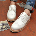 Hot 2016 Spring Autumn Fashion Soft Leather Men Shoes Flat Lace-up Breathable Business Shoes Elevator Carved Brogue Oxford Shoes