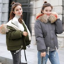 Brieuces new winter jacket women Large fur collar down wadded jacket female cotton-padded jackets thickening women winter coat winter new down cotton padded jacket female medium long with a hood cloak a wadded jacket loose thickening cotton padded coat