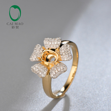 Free shipping Oval Cut 5x7MM 18K Yellow Gold Diamond Semi Mount Engagement Rings Setting