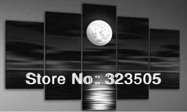 5 Piece Canvas Art Modern Abstract Wall Decor Painting Black Abd White Moon Picture Decorative