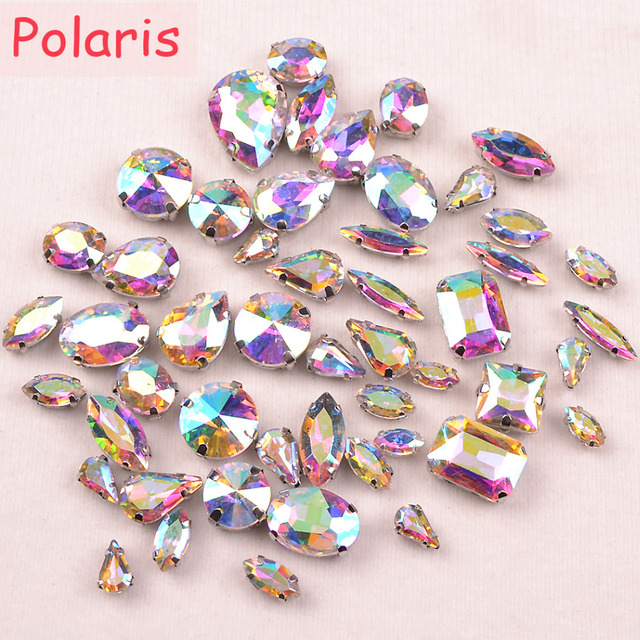 Polaris Mixed Size 50pcs Claw Glass Rhinestones Crystal AB Sew On  Rhinestones for DIY Bridal Clothing Designers 0fa896c64137