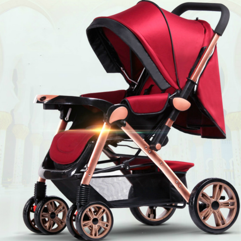 high landscape baby stroller folding 4 wheel suspension baby trolley portable lying baby cart width sleeping basket newborn pram mige stroller baby trolley cart folding baby carriage baby cart can be lying on the baby cart portable cart pram with 3 gift