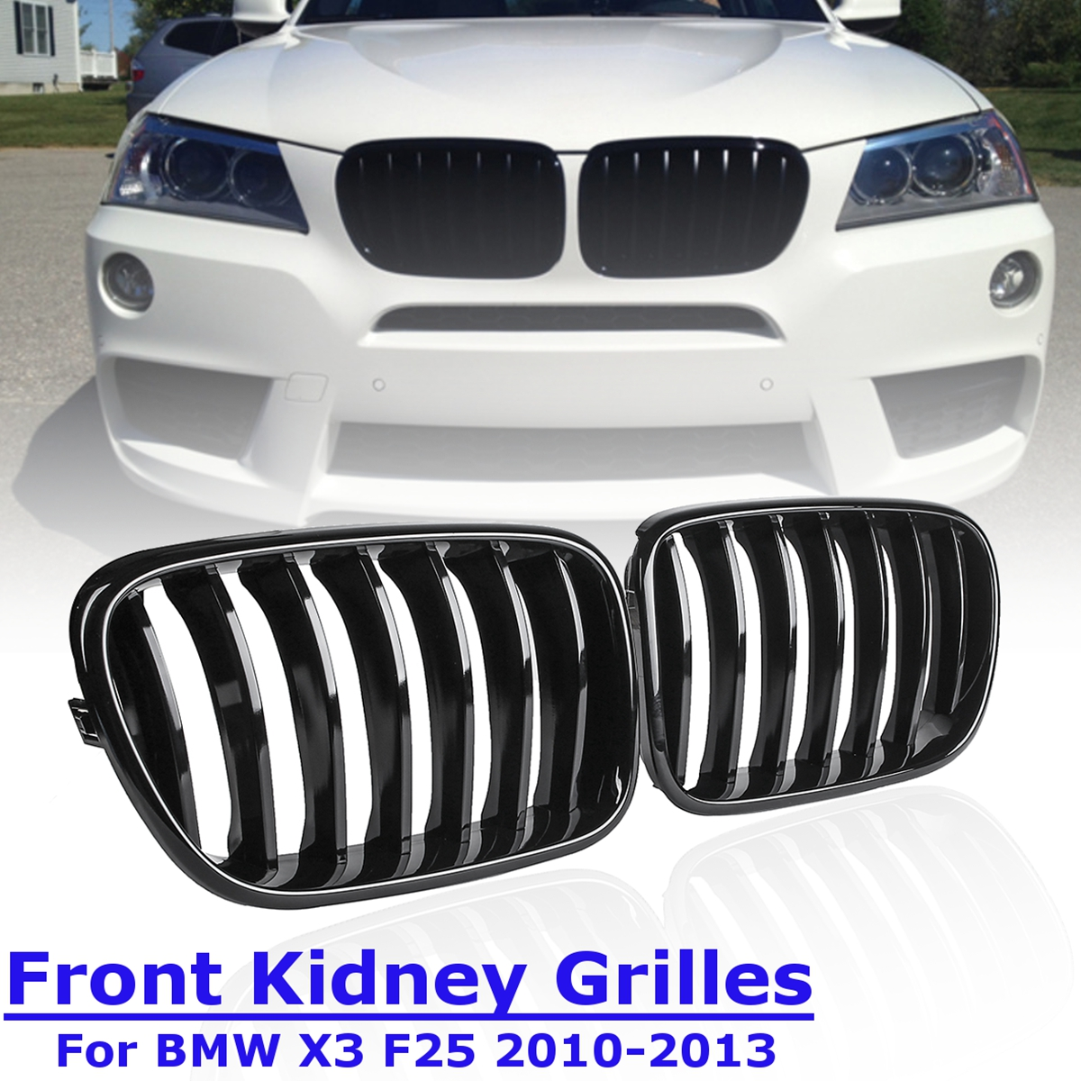1 Pair Front Kidney Black Replacement Racing Grills Grilles Gloss for BMW X3 F25 2011 2012