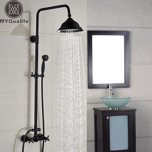 Black Bronze Shower Faucet Set Rainfall 8″ Shower Head Bathroom Shower Mixer Tap Wall Mounted Hot Cold Shower Mixer Kits