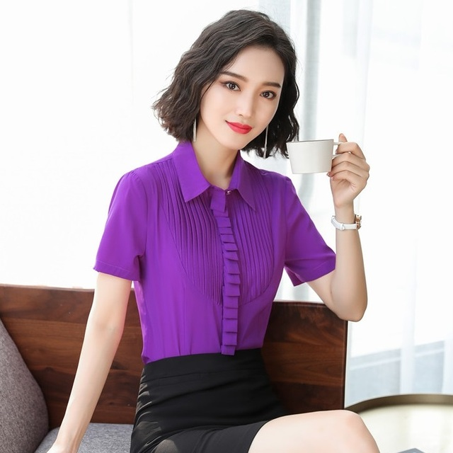 2f215406022e54 Summer Women Purple Blouses & Shirts Short Sleeve Office Ladies Work Wear  Clothes Female Tops