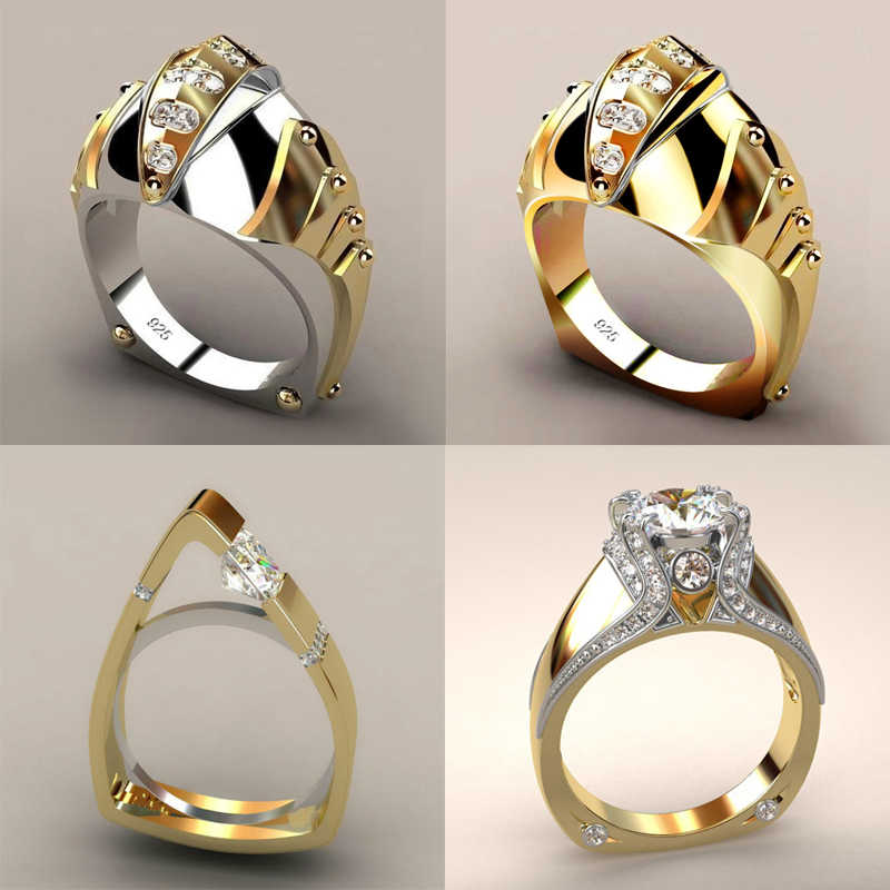 Unique Female Wedding Band Cocktail Ring Zircon Silver Gold Color Finger Ring Geometric Ring Men Party Jewelry anillo hombre