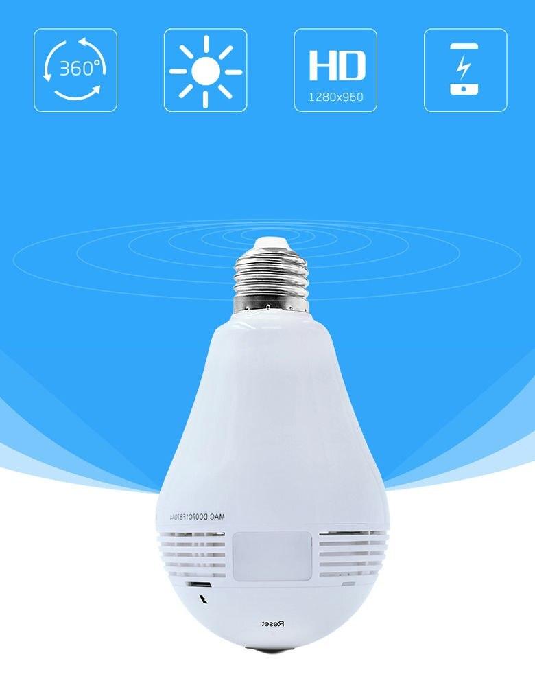 LED inalámbrico 960P 360 cámara domo Wi fi FishEye Mini CCTV VR Cámara bombilla - 2