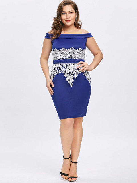 2a39e6dc4227 Gamiss 2018 Sexy Lace Bodycon Dress Plus Size Foldover Off The Shoulder  Pencil Dress Women Office