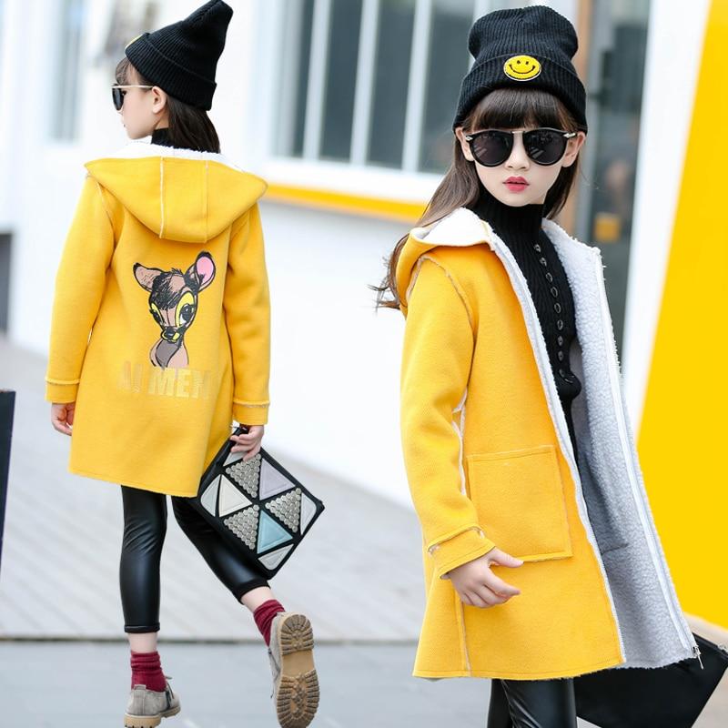 цена на 2018 Autumn Winter Girls Long Woolen Coat Children's Clothing Overcoat Female Kids Medium-Long Hooded Jacket Wool Outerwear A252