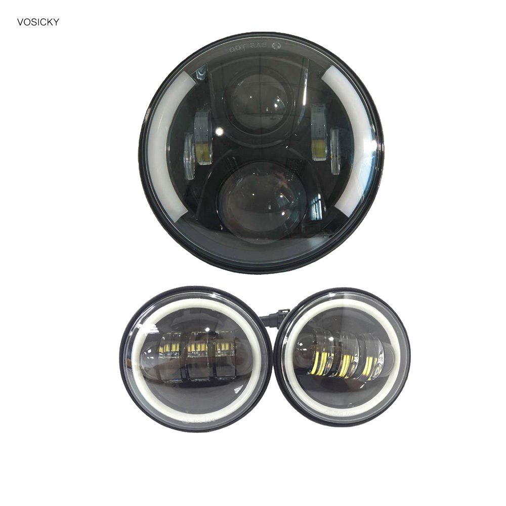 7 Inch Round LED Halo Headlight Daymaker with a pair 4.5 inch fog light Passing Angel Eyes Light for Harley Davidson